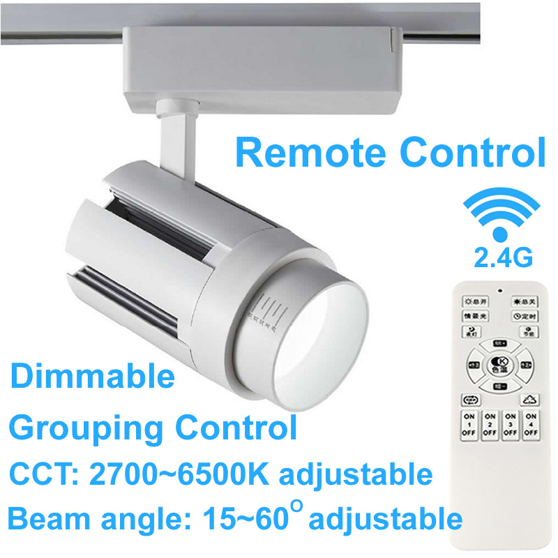 Led Track Light 2.4G Remote Control Dimmable Zoom 3000K 4000K Spot Led Rail Lights Commercial Clothing Lighting 110V 220V 230V