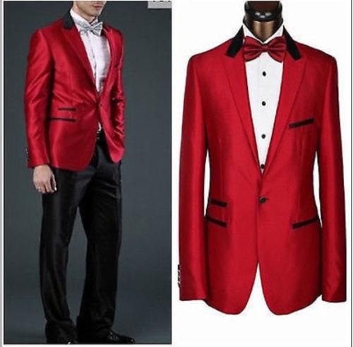 New MADE MEN SUITS,red Jacket + Black Collar & Pocket Edge + Black Pants CUSTOM+red Tie