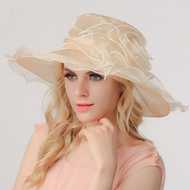 1 unids beach sun sombreros Gorras 2017 Verano de la Gasa del bowknot de Las Mujeres de empalme prevenga toman el sol en el Sol Sombreros de Mujer Retro noble sombrero de sol Chicas