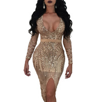 Retro Party Club Dresses Sequined V Neck Ladies Dresses Bodycon Empire Waist Dress Sexy Slim Voile