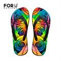 Forudesigns casual mujeres flor sandalias flip flop zapatillas de playa de masaje 3d rose floral print antideslizante flop sandalias zapatos mujer
