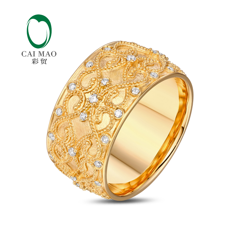 US8.5 Stock Ring 0.47ctw Natural Diamond 18KT Yellow Gold Full Eternity Milgrain Engagement Classicl Band