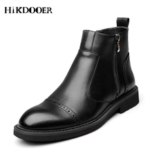 Leather Men Boots Autumn Winter Ankle Fashion Footwear Zipper Shoes High Quality Vintage