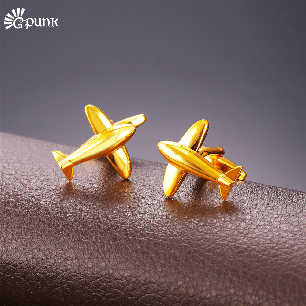 Airplane Cufflinks For Mens Gold color Wholesale French Shirts Cuff Buttons wedding cuff link C2004G image