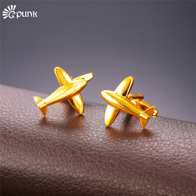 Golden Silver Airplane Aircraft Cufflink For Men