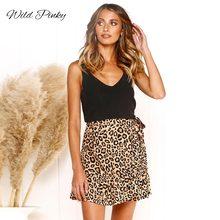 WildPinky Boho Wrap Print Skirts Women Vintage Party Ruffles Short Skirt Casual High Waist Summer Female