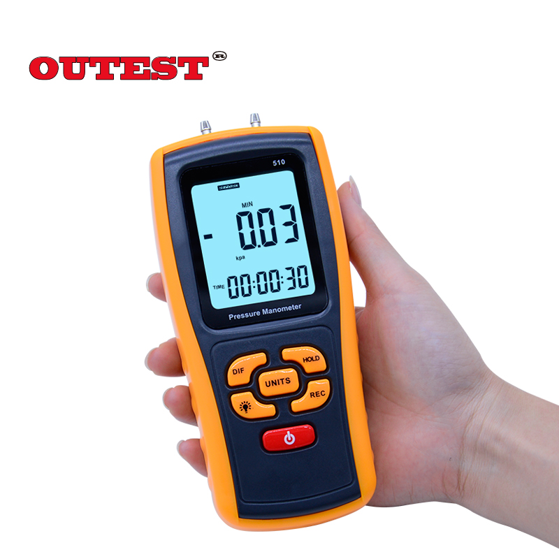 GM510 Handheld Digital Pressure Meter Manometer +/- 10kPa Pressure Gauge Tester USB Manometro with Carry box portable digital lcd display pressure manometer gm510 50kpa pressure differential manometer pressure gauge