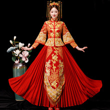 Red Chinese Wedding Bride Cheongsam Traditional Style marry Evening Dress Embroidery Long