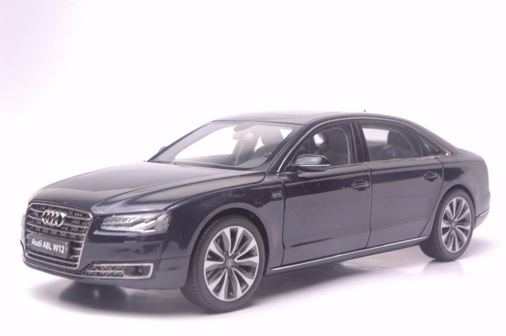 1:18 Diecast Model for Audi A8L W12 2014 Black Sedan Alloy Toy Car Miniature Collection Gifts A8 1 18 diecast model for buick lacrosse black classic sedan alloy toy car collection gifts