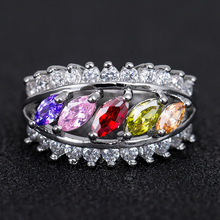 Huitan Creative Leaf Ring Colorful Cubic Zircon Party For Women With Micro Paved Luxury Cocktail Jewelry