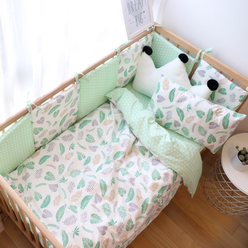 Baby Bedding Set Cotton Breathable Baby Items For Newborns Crib Bedding Set With Bumper For Boy Girl Bedsheet Or Mattress Cover