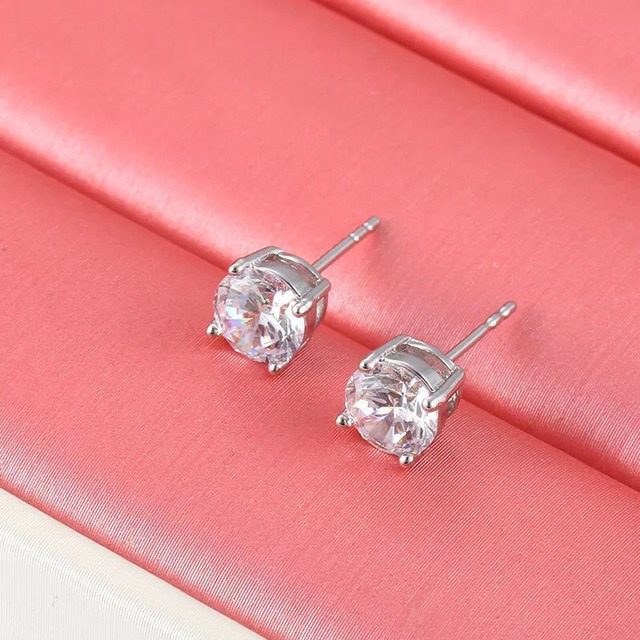 f903cbf19 MxGxFam Round CZ ( 6 mm) Stud Earrings for Women AAA+ Cubic Zircon Classic  Style