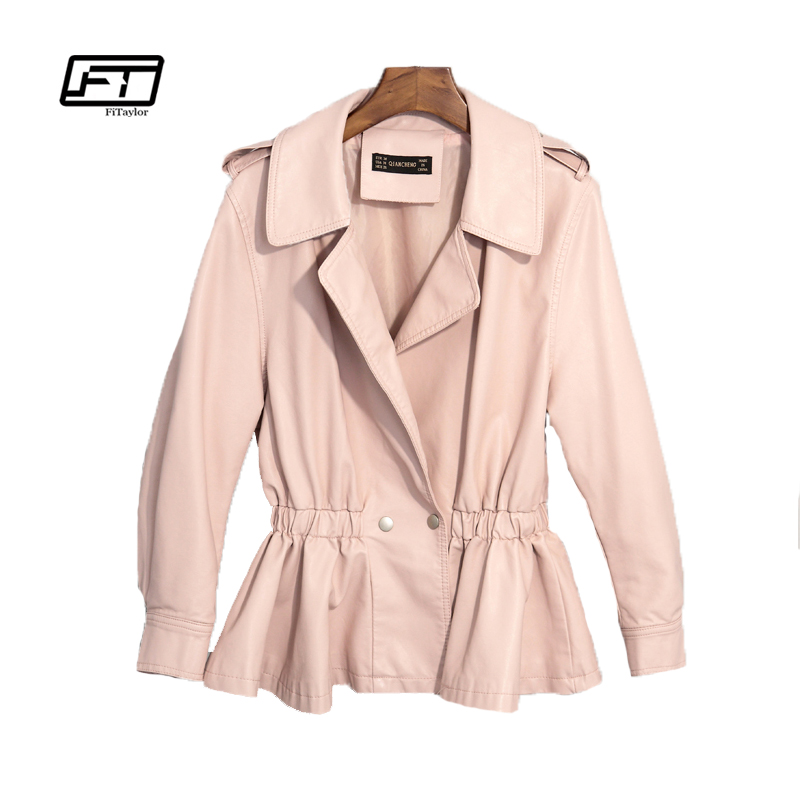 Fitaylor New Autumn Fashion Women Faux Leather Jackets Slim Pink Leather Bomber Jacket Soft PU White Biker Coat