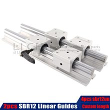 2pcs 12mm 300 400 500 600 800 1000 1200 1300 1500mm Fully Supported Linear Rail Slide Shaft Rod With 4Pcs SBR12UU Bearing Block(China)