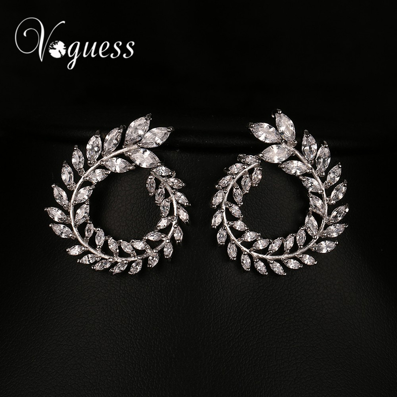 VOGUESS Fashion Cheap Jewelry Gold & Silver & Rose Gold Color Zircon Stud Earrings for Woman 3 Color Spring Earring