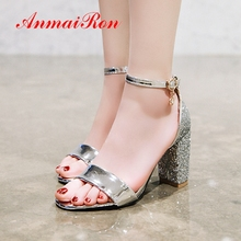 ANMAIRON 2019 New Arrival Summer Fashion High Heel Sandals Ankle Strap Sexy Lady Party Dress Sliver Gold Shoes Size 34-43 LY4000
