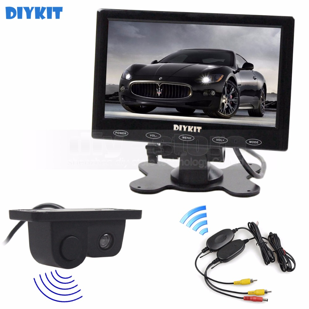 DIYKIT Wireless 7 inch Touch Button Ultra-thin Car Monitor Rear View Car Camera Wireless Parking Radar Sensor Assistance System wireless pager system 433 92mhz wireless restaurant table buzzer with monitor and watch receiver 3 display 42 call button