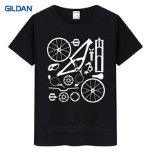 Funny T Shirt Design  MenS Print Short Sleeve Downhill Freeride Mountain Cyclists Parts Tee
