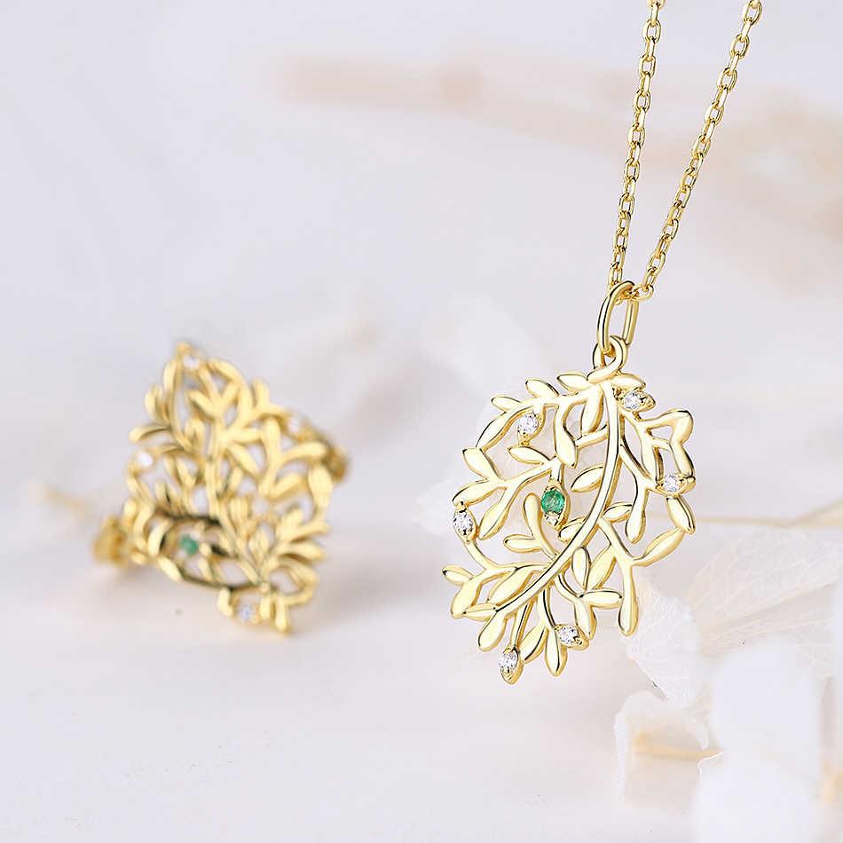 ALLNOEL 2019 Reais 925 Sterling Sliver Anel Colar de Pingente de Conjuntos de Jóias Natural Verde Esmeralda Para Mulheres Wedding Fine Jewelry