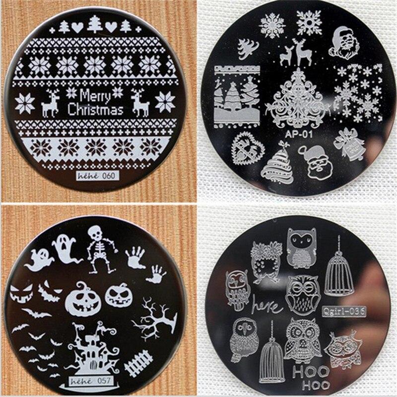 097 30 De Descuentonavidad Halloween Calabaza Búho Redondo De Acero Inoxidable Placas De Uñas Imagen Arte De Uñas Konad Impresión Sello Estampado