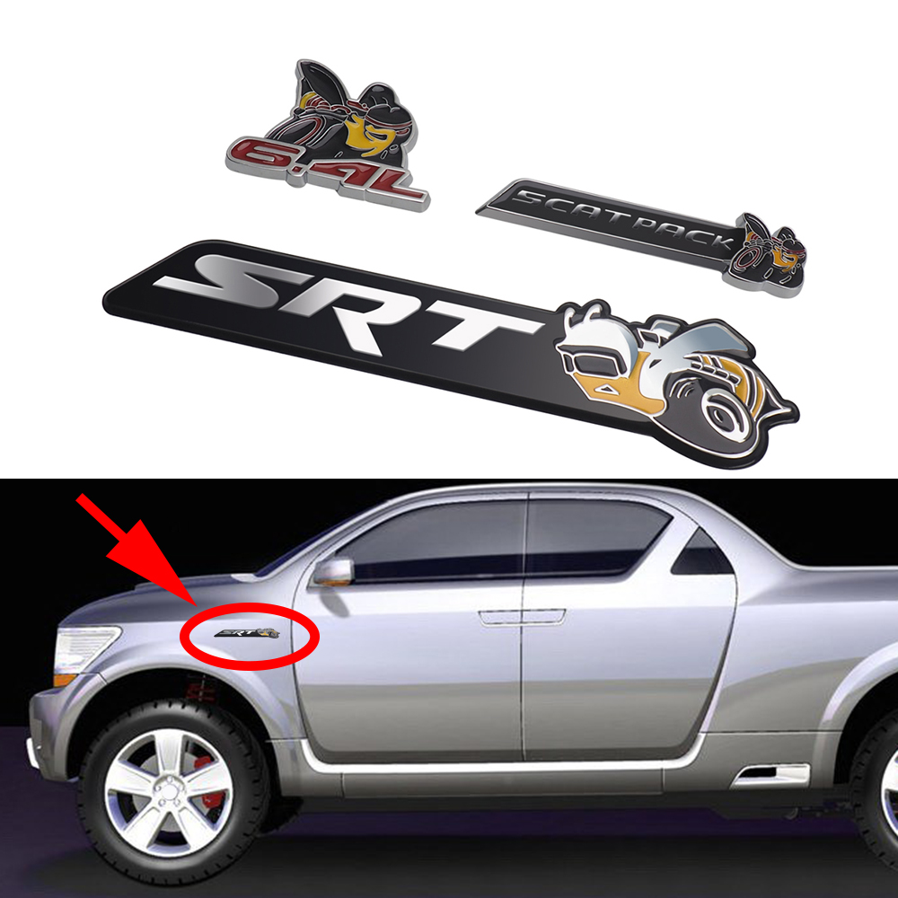 SCAT PACK 6.4L Emblem Badge Sticker Decal Metal Dodge Ram Challenger SRT Trunk