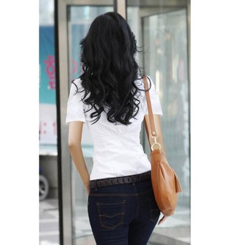 2020 Fashion Women's OL Shirt Long Sleeve Turn-down Collar Button Lady Blouse White Black Short Sleeve Tops 4