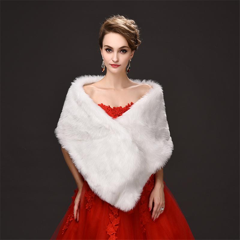 populaire pas cher 2017 femmes dhiver en fausse fourrure veste de mariage de marie - Bolero Fourrure Mariage Pas Cher