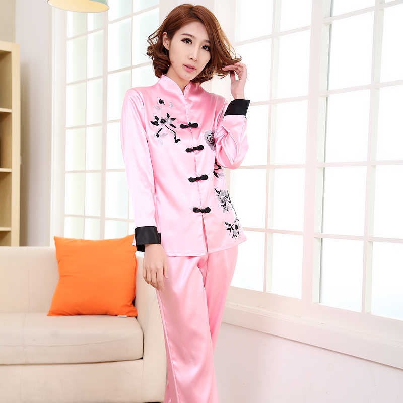 ... Pink Traditional Chinese Women Silk Pajamas Set Embroidery Flower Pyjamas  Suit Home Wear Sleepwear Flower 2PCS ... 2e3f6951f