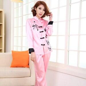 Image 2 - Różowy tradycyjnych chińskich kobiet zestaw jedwabnych piżam haftowany kwiat piżamy garnitur odzież domowa bielizna nocna kwiat 2 sztuk M L XL XXL 3XL
