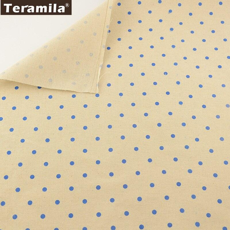 Textiles para el hogar material de costura de la tela de lino de puntos azules d