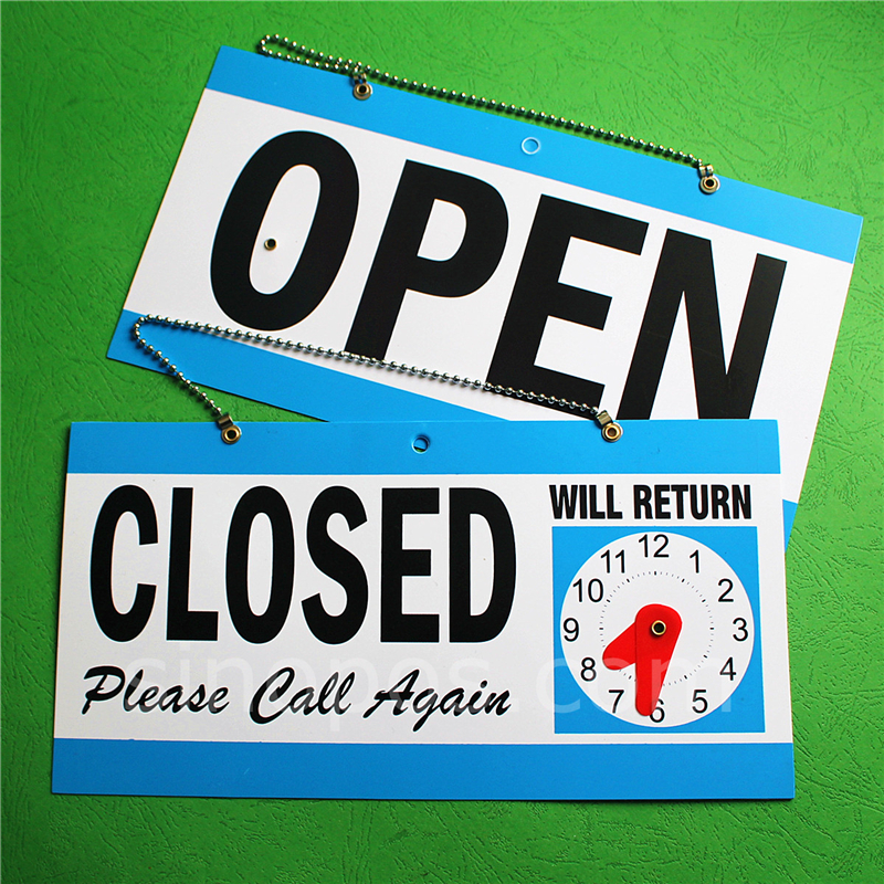 OPEN CLOSED WILL RETURN CLOCK SIGN Window Store w// Time Hanging Chain Red