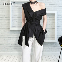 SONDR Sleeveless Sashes Tunic Women's Blouses Shirts Summer V Collar Black Khaki Irregular Loose Shirt Tops Casual