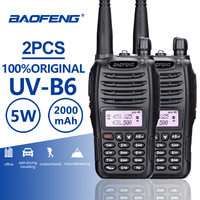 2PCS Baofeng UV B6 Dual Band Walkie Talkie 10 KM Pofung 2000mAh 7.4 V Portable Ham Radio Transceiver PTT Telsiz CB Two Way Radio