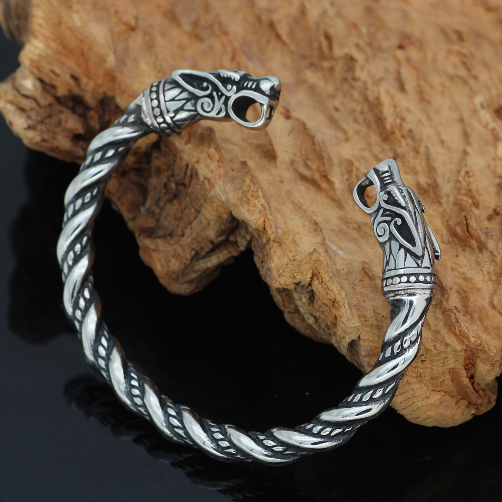 Nordic Viking Norse Dragon Scandinavian Bracelet Men Wristband Cuff Bracelets with valknut gift bag