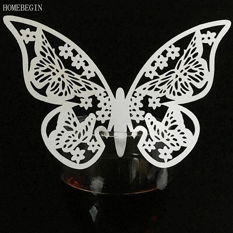 HOMEBEGIN 50pcs Butterfly Laser Cut Paper Cups Table Card Glass Paper Card For Wedding Decoration Favors Event Party Supplies