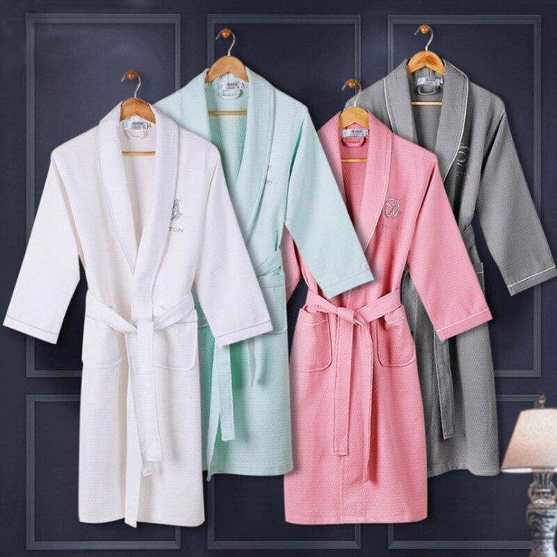 On Sale Women Summer 100% Cotton Kimono Waffle Bath Robe Bride ...