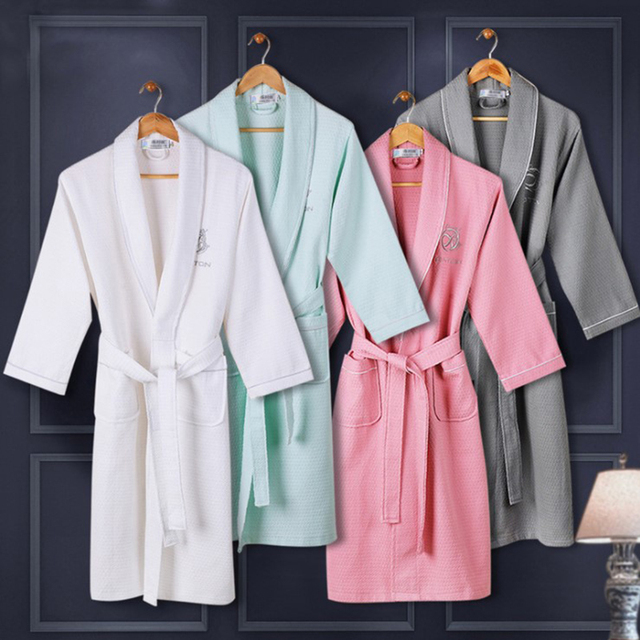 On Sale Women Summer 100% Cotton Kimono Waffle Bath Robe Bride ...