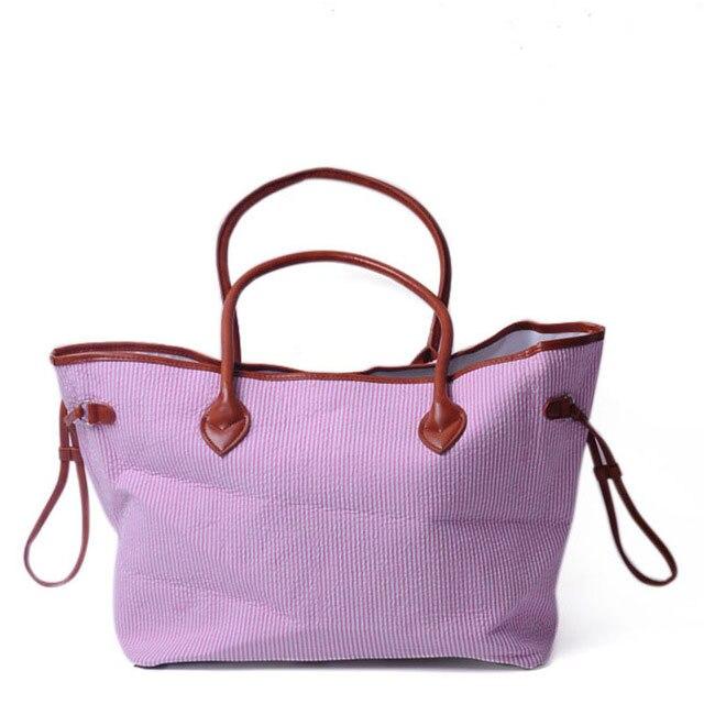 Индивидуальные жатый хлопок полосатый дамы сумки с двумя искусственная кожа ручки подарки сумка для женщин розовый темно