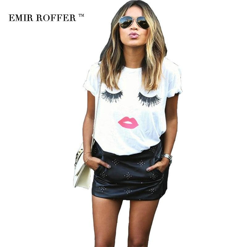 EMIR ROFFER cílios lábios vermelhos camisetas letras de impressão T-shirt feminina plus size verão camiseta femme harajuku shirt mulheres tops