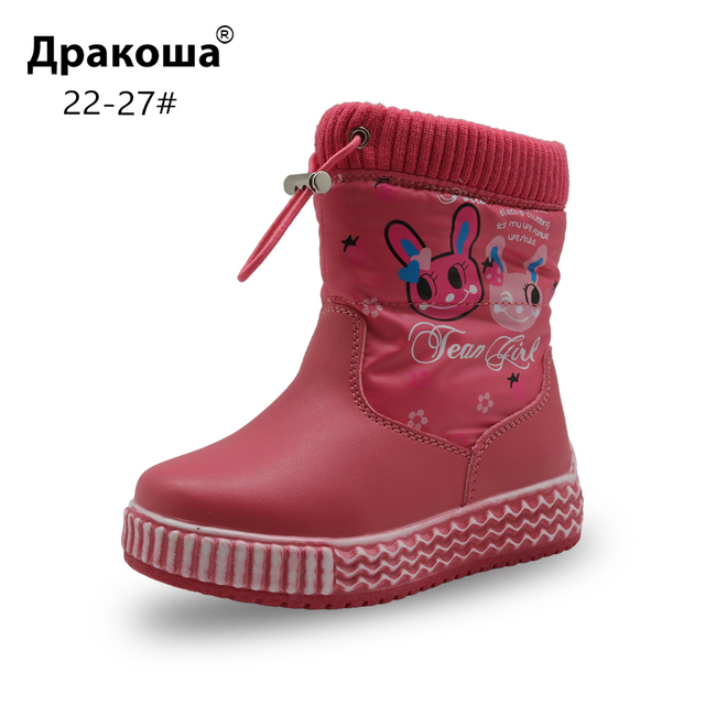 3d35ca3ce4b Apakowa Baby Girl Cartoon Snow Boots Toddler Girls Winter Mid-Calf Woolen  Outdoor Waterproof Boots for Kids Girl Anti-slip Shoes