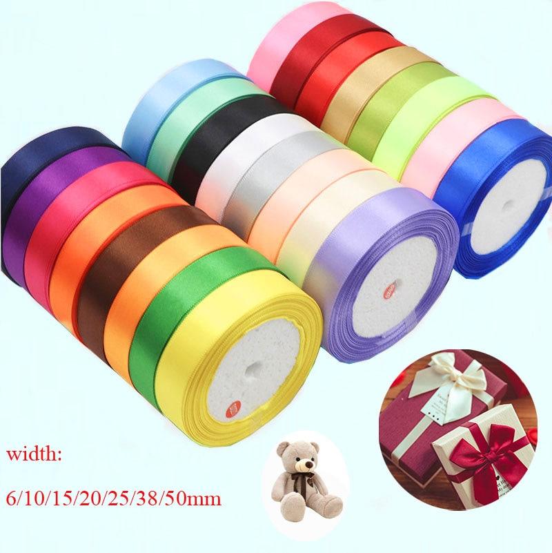 25 ярдов/рулон шелковая атласная лента для рукоделия Свадебные украшения «сделай сам» корсажные ленты бант рождественские подарки карты упаковочные материалы