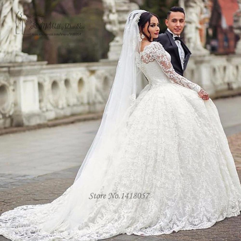 Arab Wedding Dress Turkey Puffy Wedding Gowns Long Sleeve Lace Bride Dresses 2017 Ball Gown Vestido De Noiva Com Manga Lebanon