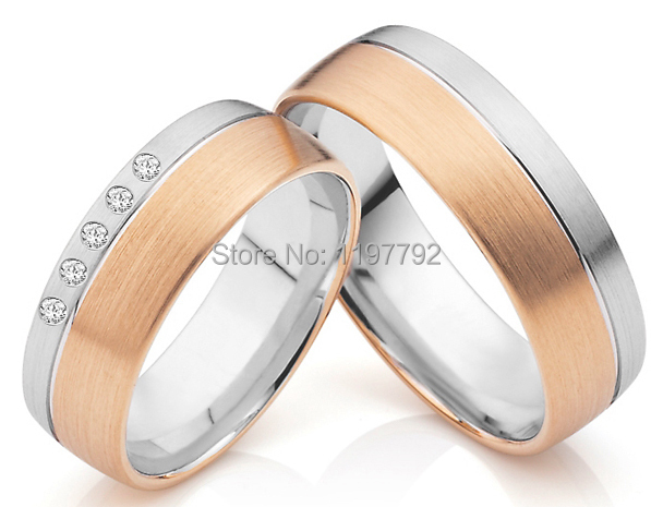 лучшая цена discount cheap tailor made classic rose gold colour His and Hers couple Rings sets for anniversary