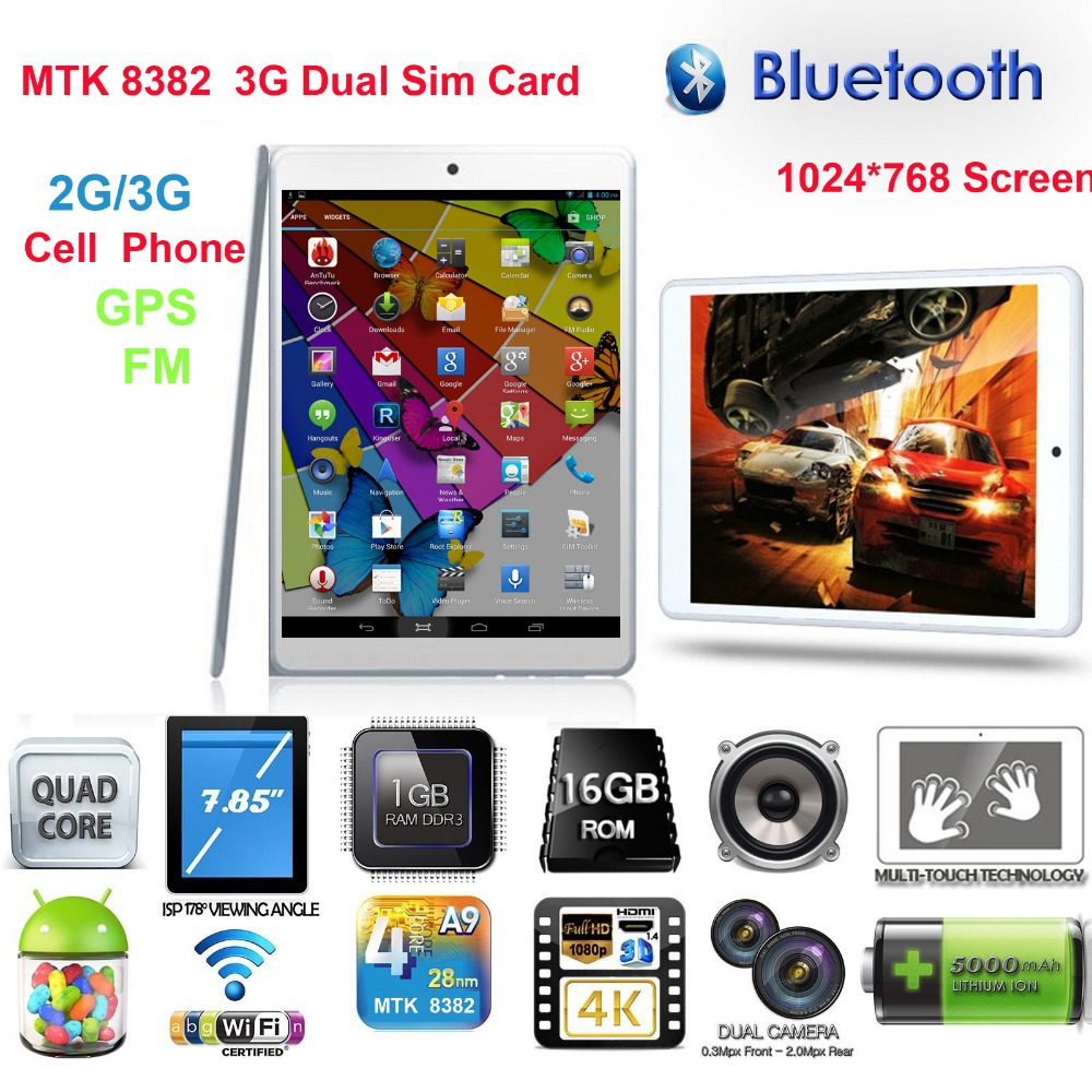 Free Shipping Boda Tablet PC OEM MTK8382 GPS 2G/3G Duad core CPU Dual Sim Android Phone 7.8 inch IPS HD 1G /16G WIFI Bluetooth(China)