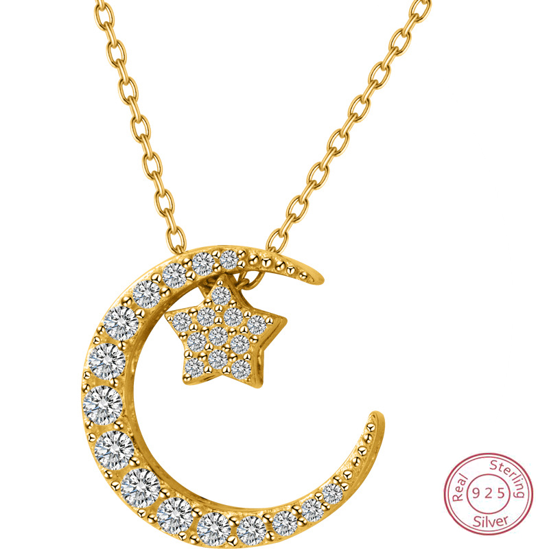 DXJEL New 925 Sterling Silver Jewelry Crescent Moon Star Pendant Necklace Boho Jewelry Choker Necklaces for Women Birthday Gift