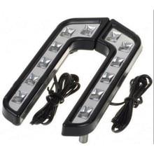 LED DRL Дневные Бег фара l-образный противотуманных фар белый Водонепроницаемый комплект 12 В Универсальная автомобильная Стайлинг для benz audi