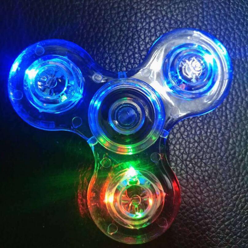 2017 Crystal Flashing Light Hand Spinner Tri Fidget Tri Spinner EDC Focus Kids ADHD Kids Adults