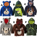 Coral Fleece Embroidery New 2016 Autumn Winters Cartoon Animals Children Jacket Zipper Hooded Boy Cotton-padded Coat