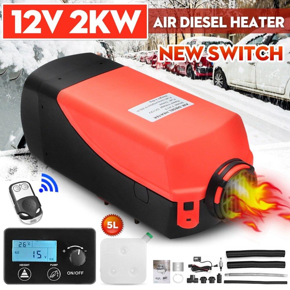 Radiateur de voiture 2KW 12 V Air Diesels Chauffe-chauffage de stationnement LCD bouton commutateur + Silencieux + télécommande pour RV, Camping-Car Remorque, camion