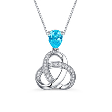 купить AILIN Knot Pendant with birthstone in sterling silver For Lady Triple Knot Necklace For mother's day gift Knot Pendant Necklace дешево